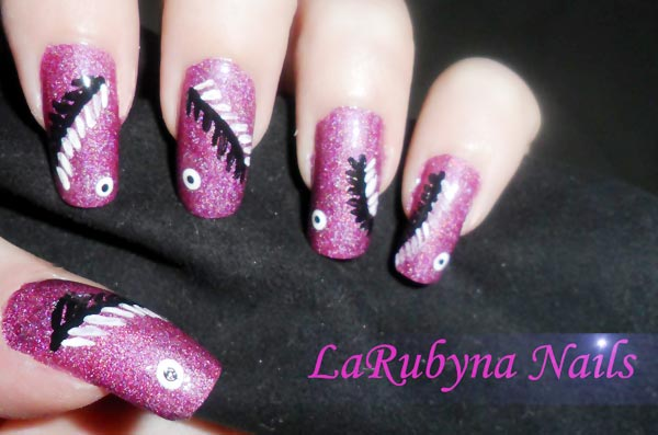 feathered purple nails
