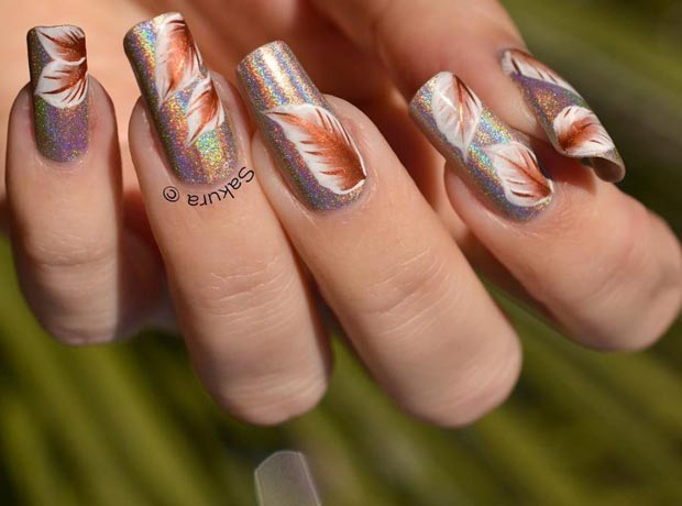feathers on holographic nails