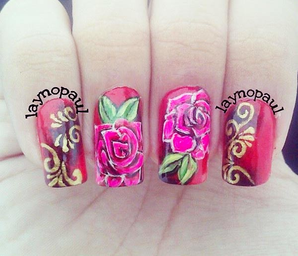 freehand roses fall red gradient nails