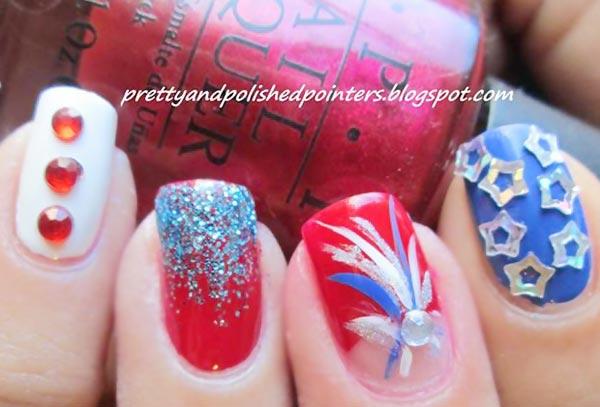 fireworks stars glitter stripes 4th of july nails