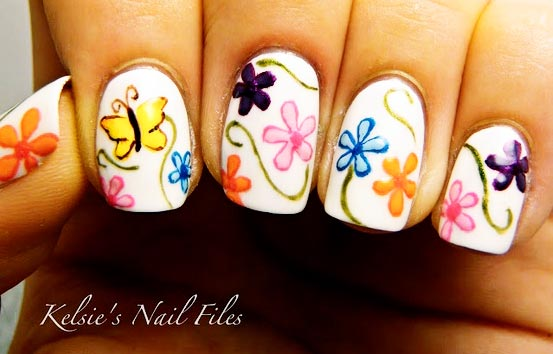 flowers butterfly spring nails