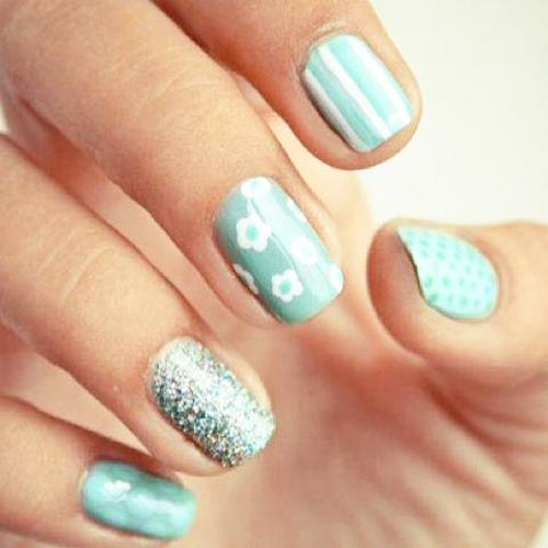 flowers dots stripes teal nails