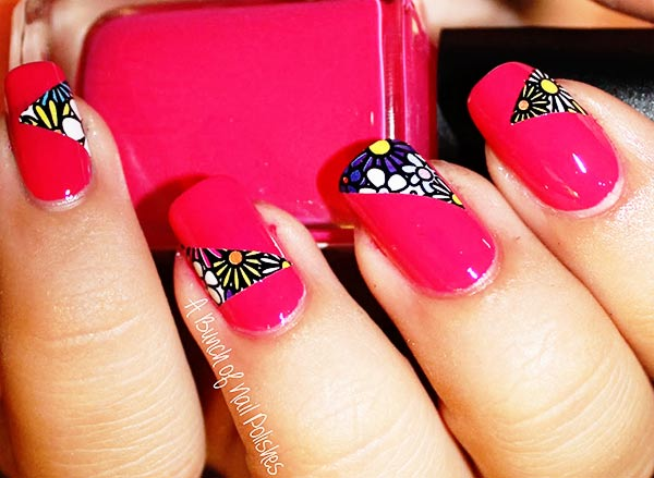 flowers geometry cutouts pink nails