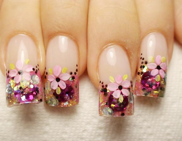 flowers glitter french nails