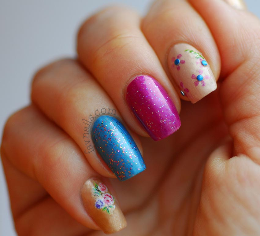 flowers glitter purple blue nude retro nails