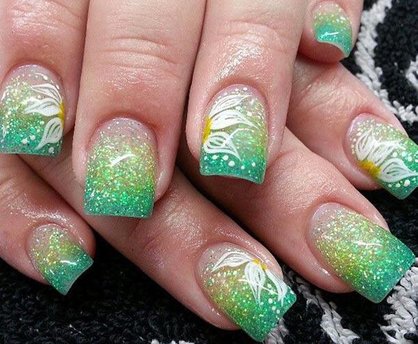 flowers green glitter gradient nails