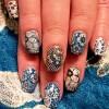 flowers lace mix vintage retro nails