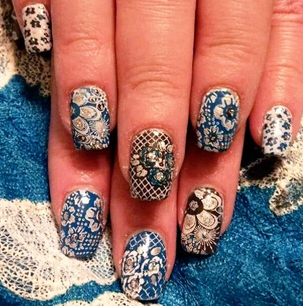 flowers lace mix vintage retro nails