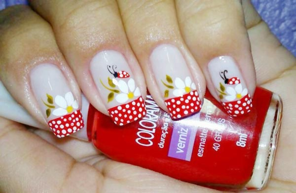 flowers ladybugs dotted french nailsb