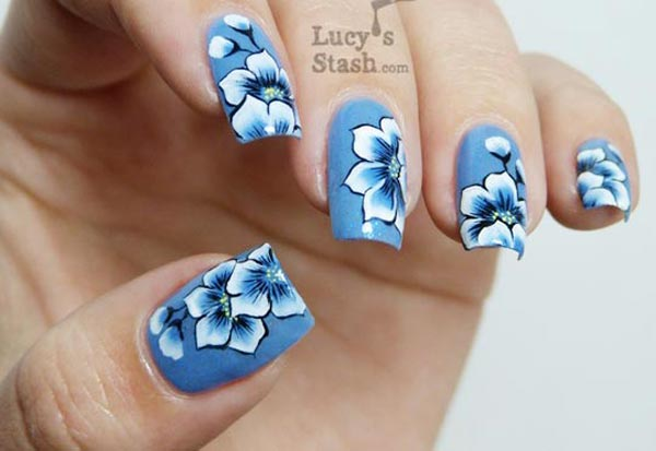 flowers on blue nails