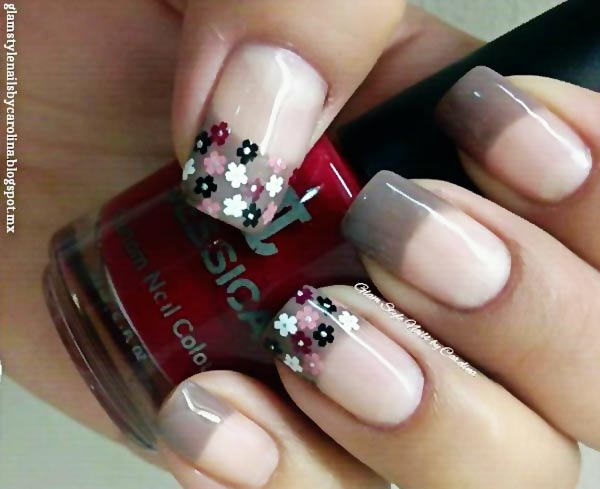 flowers on grey fall nails