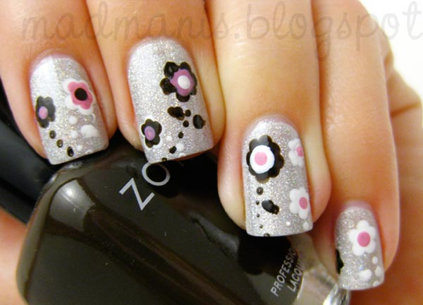 flowers on silver shimmer nails