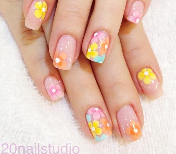 flowers on soft pink lovely nails