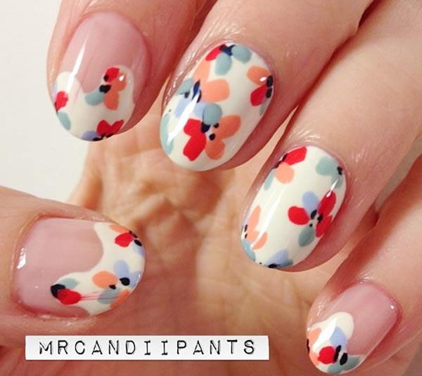 flowers on white tips spring summer nails
