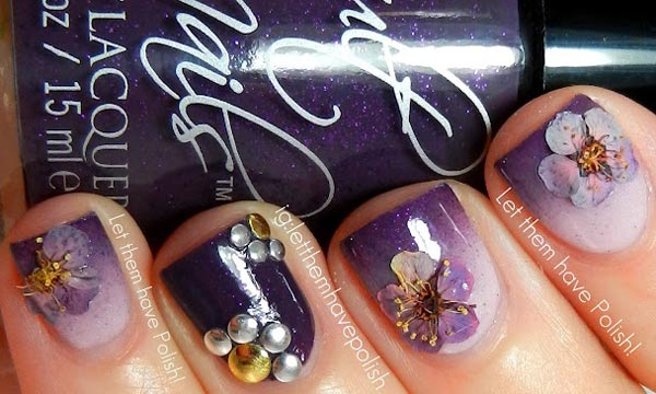 flowers rhinestones applique purple gradient nails