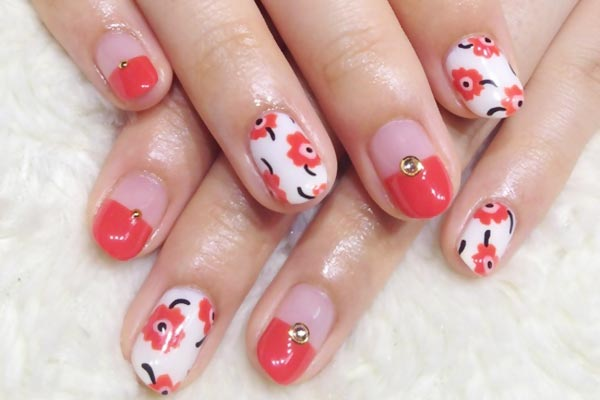 flowers rhinestones french coral nails