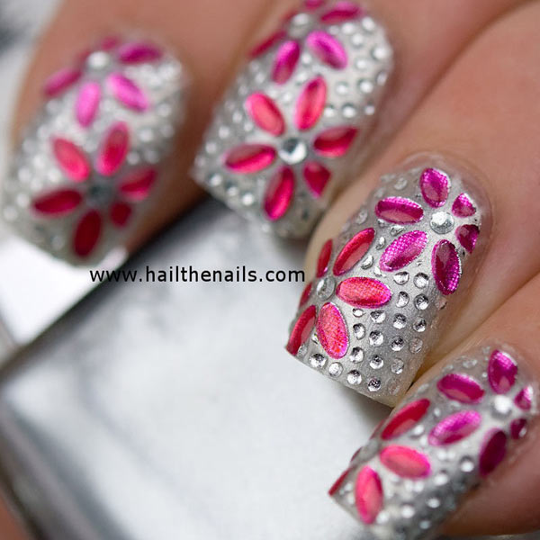 flowers rhinestones spring summer silver nails