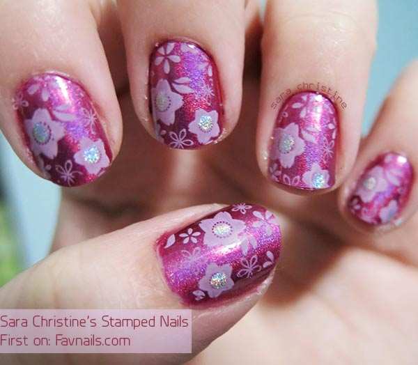 flowers stamped glitter pink stamped nails