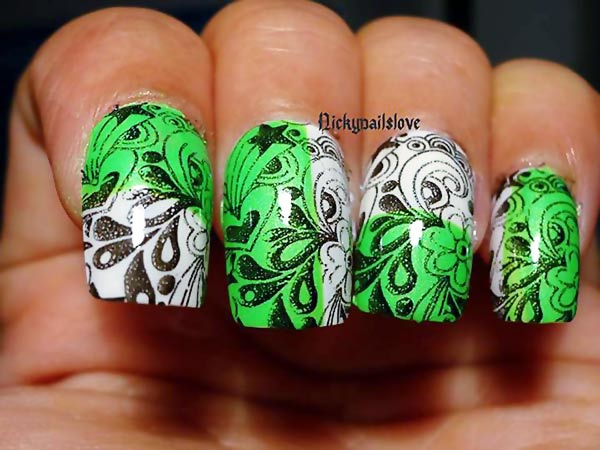 flowers stamped white green nails