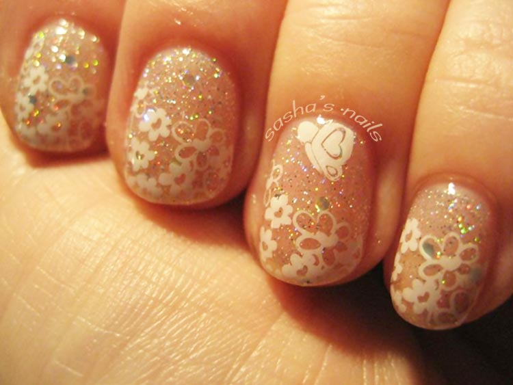 flowers white stamped glitter wedding nails