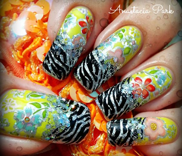 flowers zebra french stamped nails