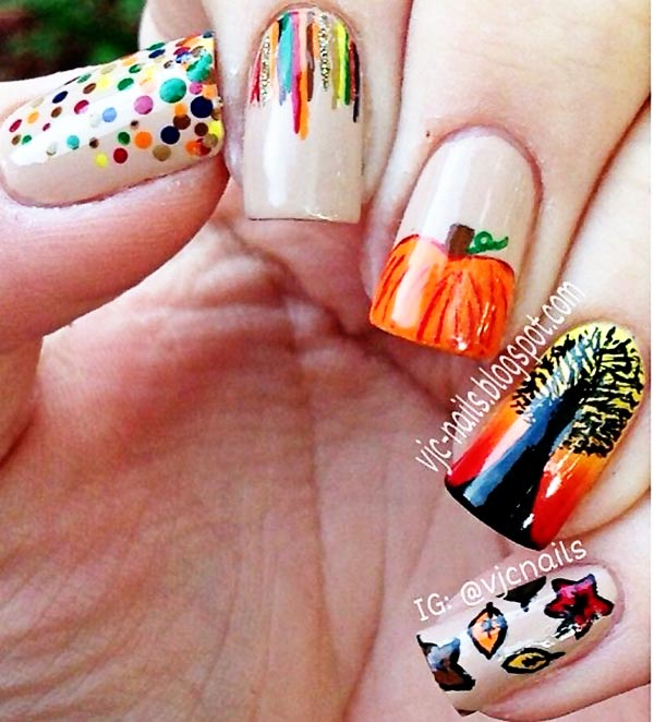 freehand art fall halloween nails