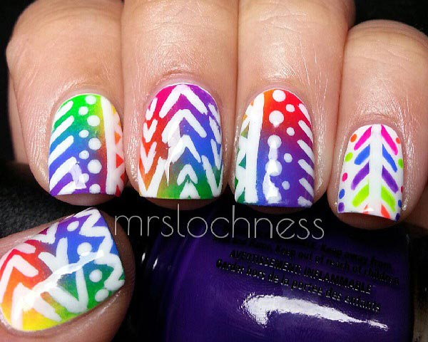 freehand aztec over tie dye nails
