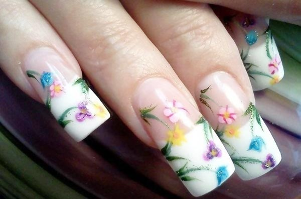 freehand colorful flowers spring french nails