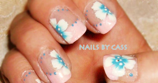 freehand decal flowers french nails