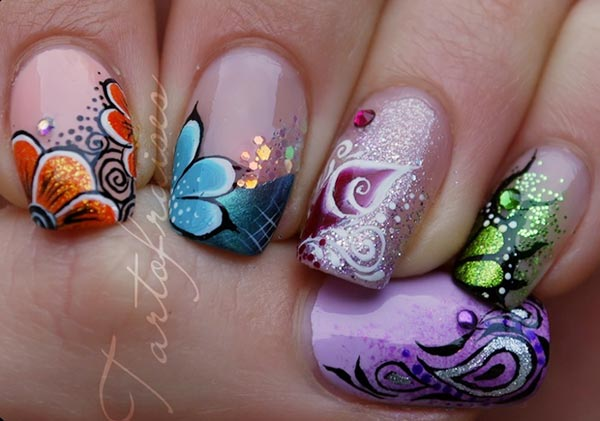 freehand flowers artistic nails