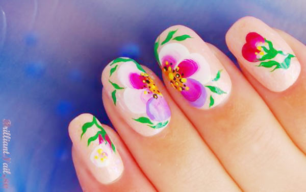 freehand flowers soft peach summer nails