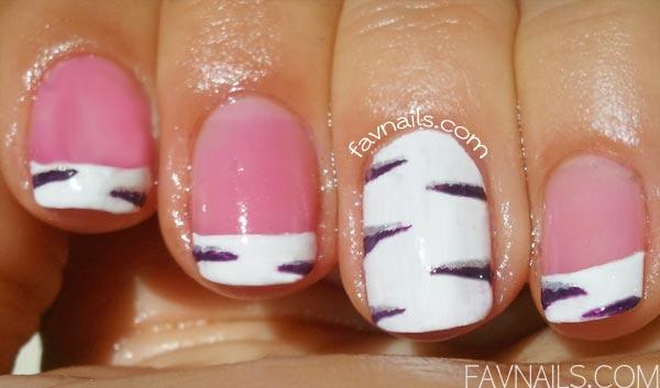 freehand french zebra nails