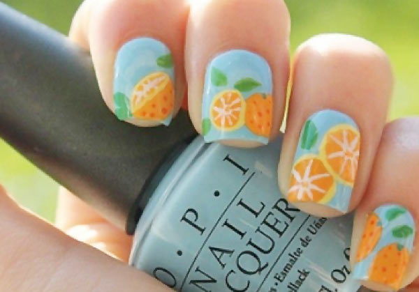 freehand fruits soft blue summer nails