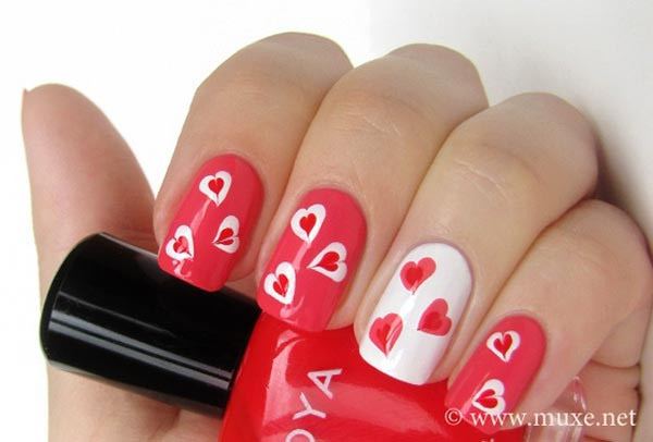 freehand hearts valentines day nails