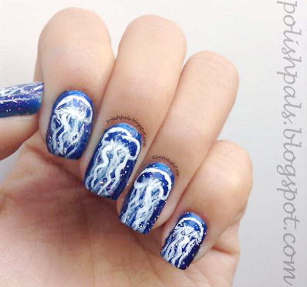 freehand jellyfish summer nails