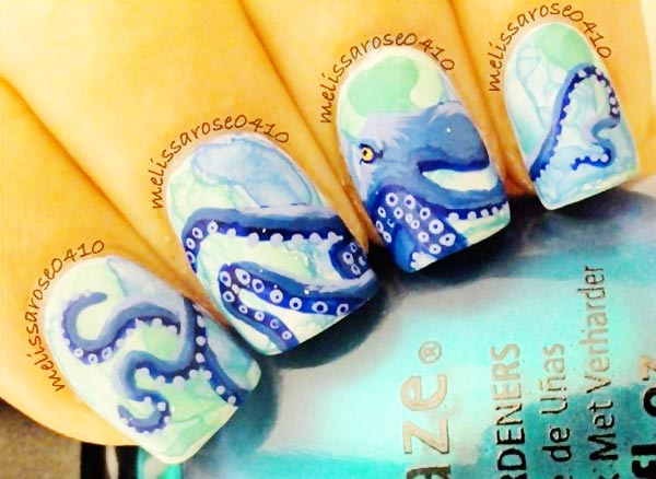 freehand octopus amazing summer nails
