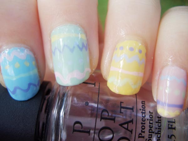 freehand pastel easter nails