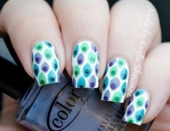 freehand peony nails