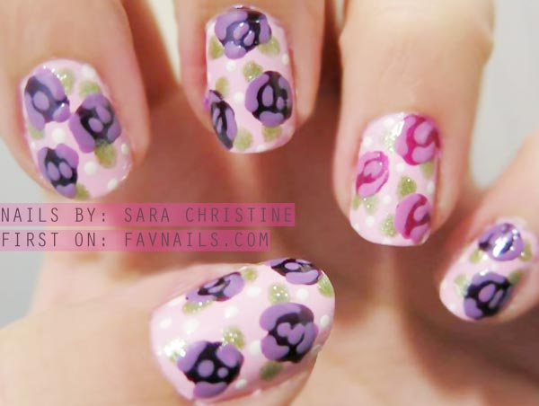freehand purple and pink roses nails