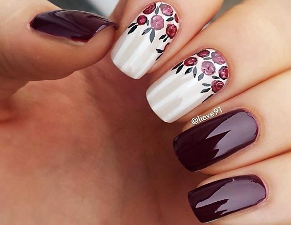 freehand roses beige plum nails