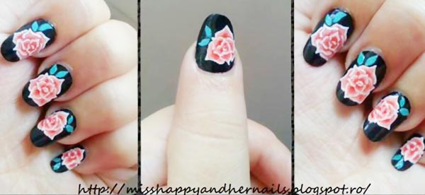 freehand roses on black nails