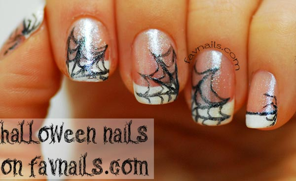 freehand spider web shimmer french halloween nails