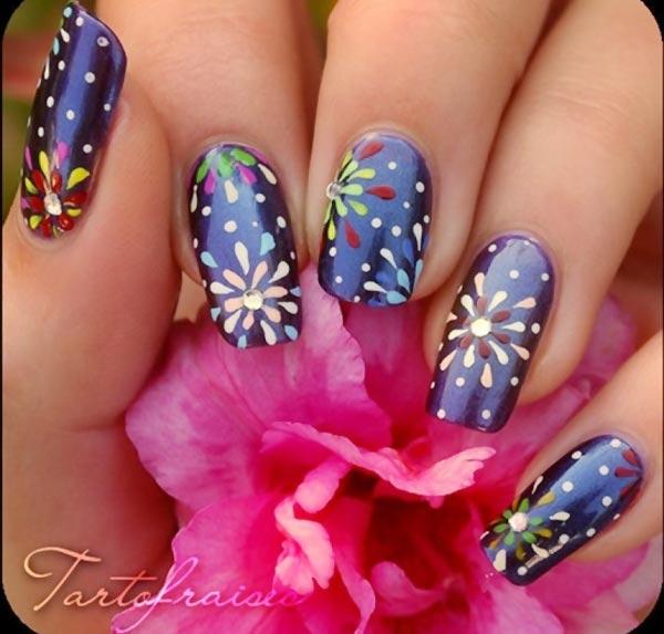 freehand splash flowers blue nails