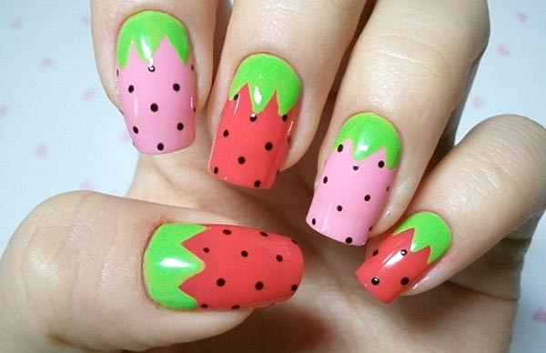 freehand strawberry spring summer nails