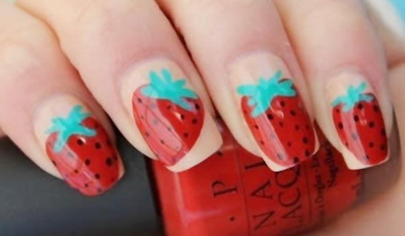 freehand strawberry summer nails