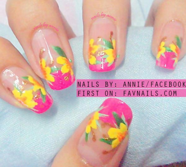 freehand yellow flowers pink french nails
