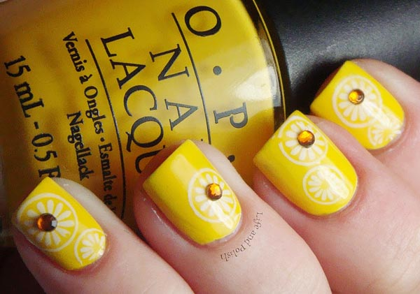 fresh citrus summer yellow nails