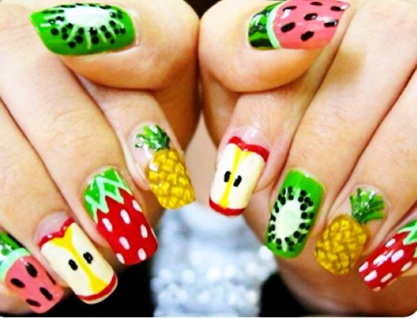 Ногти с рисунками фруктов