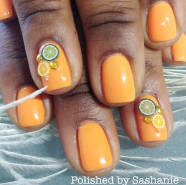 fruity simple orange summer nails