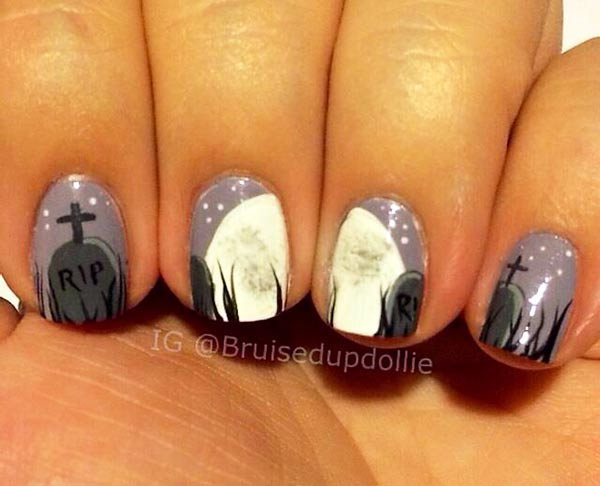full moon cemetery halloween nails